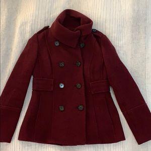 Burgundy cowl neck pea coat, XS, Anne Taylor Loft